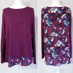 Loft sweater top with flowers peplum on back sz Lg